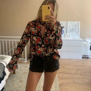 Retro red floral blouse